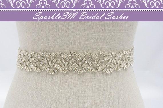 Bridal sash, Wedding sash, Bridal belt, Crystal Bridal Sash, Rhinestone Sash, Jeweled Belt, Bridal Belt, Wedding Gown Belt, Sash - Piper