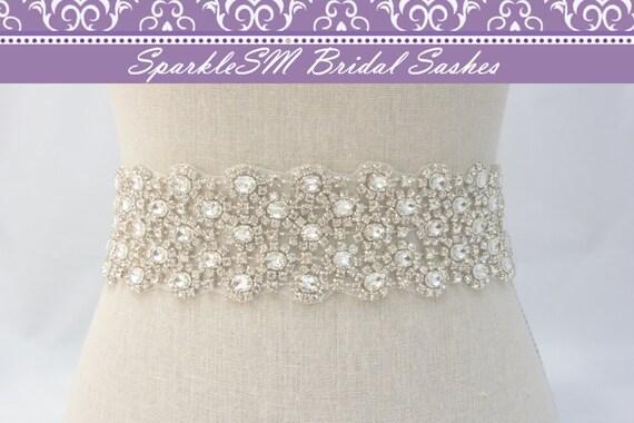Wide Rhinestone Crystal Bridal Belt Sash, Wedding Sash Belt, Bridal Accessories, Crystal Belt Sash Bridal Sash, SparkleSM Bridal, Julia