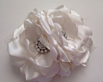 Hair Clip - Cream Two Flower Hair Clip - Updo Clip, Flower Clip, Hair Flower, Ivory, Off White, Antique White