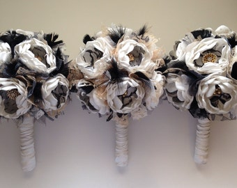 Fabric Bouquet - Medium Bouquet - Black, Cream and Gold - With Feathers - Fabric Flower Bouquet, Gold and Black Wedding, Alternative