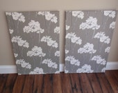 Set of 2 CorkBoards PinBoards Cork Bulletin Pin Boards, each 23x35 Gray / Grey & White Floral Fabric, Shiny Chrome Nailhead Trim, Pushpins