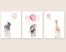 Girls nursery decor, baby print set, nursery set, pastel pink baby decor, safari nursery art, childrens wall art, balloon nursery