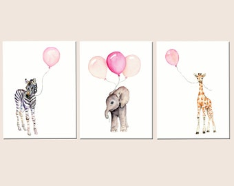 Girls nursery decor, baby print set, nursery prints, pastel pink baby decor, safari nursery art, childrens wall art, balloon nursery