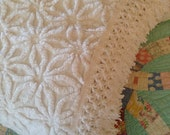 """Vintage Chenille - Hoffman White  Daisy Chenille Bedspread - 88"""" x 104"""" plus 4"""" Fringe - Full or Queen Coverlet"""