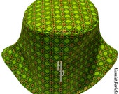 African Wax Print Unisex Bucket Hat | Green Diamond Interlock Hat by Hamlet Pericles