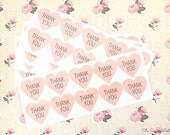 50 Pink Thank You Heart Stickers