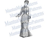 "Victorian Dress Engraving, 11"" tall, Instant Digital Download, JPG & PNG, 1879 #1"