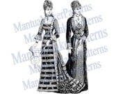 "Two in One - Victorian Dress Engraving, 11"" tall, Instant Digital Download, JPG & PNG, 1879 #4"