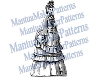 Victorian Dress Engraving, Instant Digital Download, 1871 #4