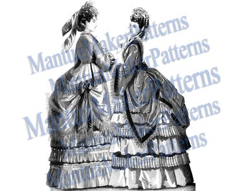 Two in One: Victorian Dress Engraving, Instant Digital Download, 1871 #6