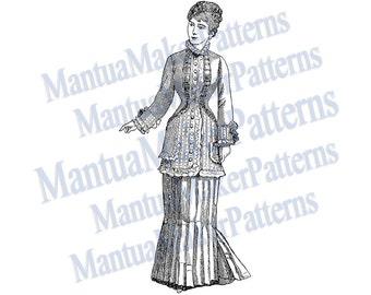 "Victorian Dress Engraving, 11"" tall, Instant Digital Download, JPG & PNG, 1879 #1"
