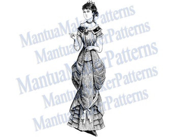 "Victorian Dress Engraving, 11"" tall, Instant Digital Download, JPG & PNG, 1879 #6"