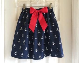 Girls' elastic waist skirt, anchor skirt, bow skirt, navy skirt, red bow