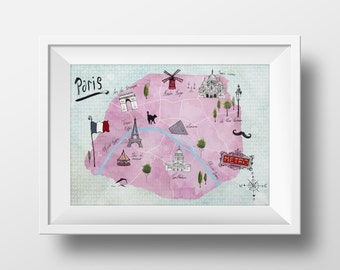 Map of Paris Watercolour Illustration Giclée Print