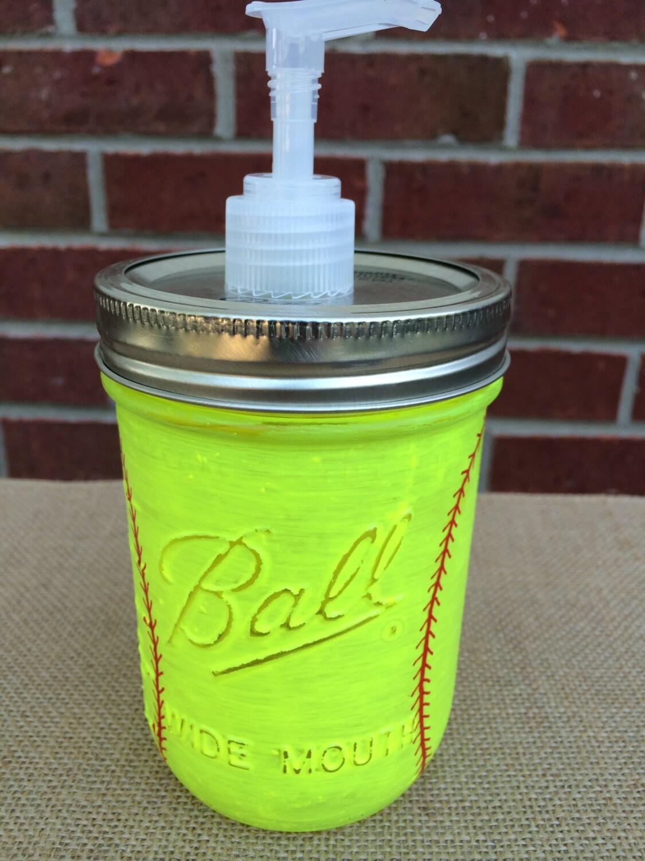Girls Softball Soap Dispenser Neon Yellow Hand Painted Mason Jar Softball Mason Jar
