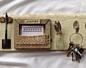Organizer Message Center Upcycled Vintage Junk Wall Art