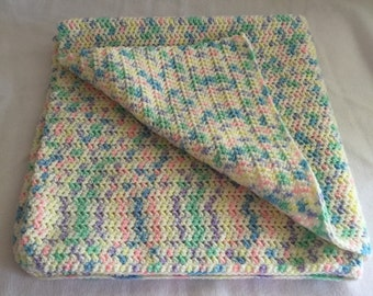 Multi Colored Baby Blanket Crocheted Boy Girl