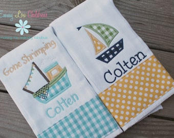 Baby Gift Set - Set of 2 Monogrammed Burp Cloths - Boat - Sail Boat - Shrimp Boat - Personalized Burp Cloths