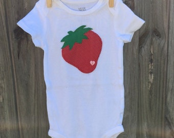 Strawberry baby girl onesie/bodysuit, strawberry outfit, hand sewn applique