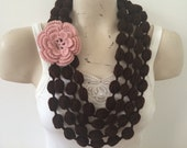 Brown Bubble Scarf Necklace