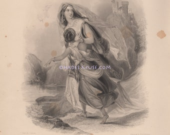 Treason-Traitor-Crime-Escape-Spain-Castle-Queen Isabelle-Lady Of Castile-Mother Protects Child-1839 Antique Vintage Art Print-Gothic Picture