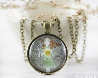 Teal Necklace - Jewelry - Sun Jewelry - Designer Jewelry -  Fashion Jewelry - Green Jewelry - Art jewelry (7-1N)
