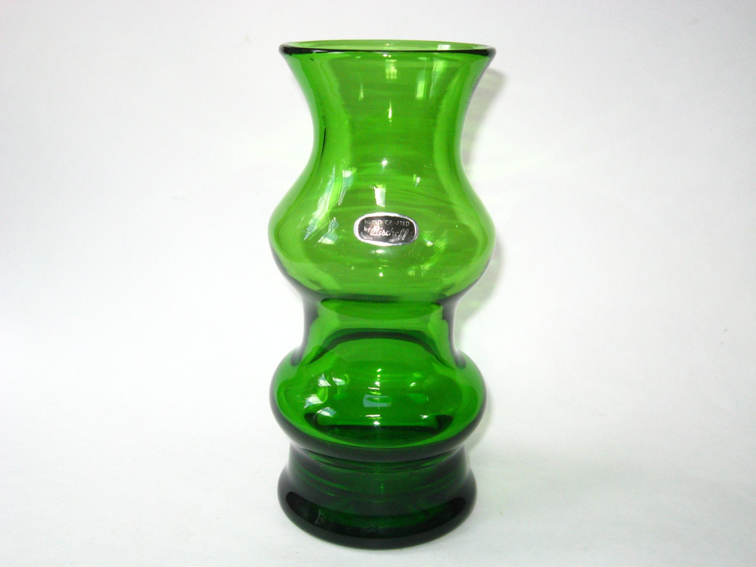 Rare bischoff glass green hooped vase with label mid century zoom reviewsmspy