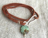 COMPASS - Genuine Suede Turquoise & Sterling Silver Wrap Bracelet