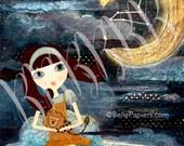 Leo astrologie tirages du zodiaque Constellation mixte fille Fine Art Print Leo Lion croissant lune Swarovski étoiles lunatique pépinière Art