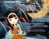 Leo Astrology Prints Zodiac Constellation Mixed Media Girl Fine Art Print Leo Lion Crescent Moon Swarovski Stars Whimsical Nursery Art