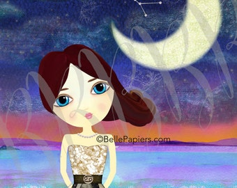 Cancer the Crab Astrology Zodiac Constellation Mixed Media Girl Fine Art Print Crescent Moon Acanthus Starry Night Whimsical Water Sign