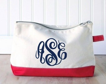 Monogram Make Up Bag - Monogrammed Makeup Canvas Bag - Monogrammed Make Up Bag - Personalized Cosmetic Bag -Monogrammed Bridesmaids Gift