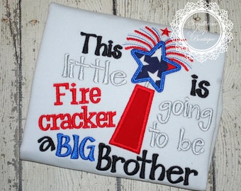 BIG BROTHER - 4th of July Custom Applique Shirt - Pregnancy Announcement Shirt - Big Brother!