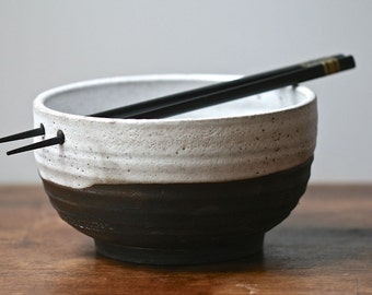 Chopstick bowl, Japanese style, Yuko collection, black clay, white melted snow glaze, rice bowl, ramen, udon, salad.