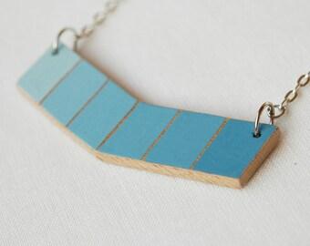 Blue chevron necklace,ombre  necklace, wood necklace,minimal necklace