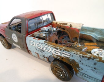 Scale Model Dodge Truck in Red and Blue by Classicwrecks