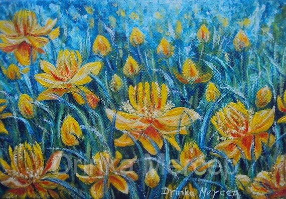 """Yellow Floral Painting Original Oil on Canvas 8x12"""" Impressionistic Artwork Contemporary Botanical Nature Landscape Flowers Wall Decor Art"""