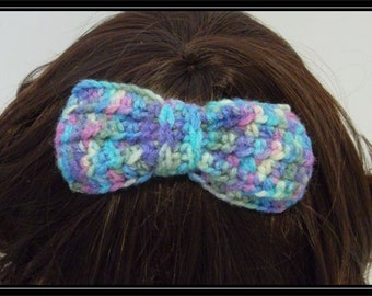 Boho Hippie  Crocheted Hair bow clip!  Ready to ship!