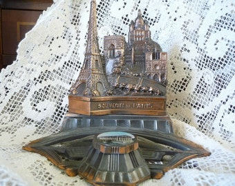 Vintage French Inkwell Souvenir France Eiffel Tower Paperweight Desk Accessories Art Deco