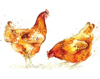 Giclee Fine Art Print: Red Chickens Pair Watercolour Painting