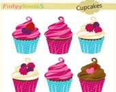 ON SALE Cupcakes clip art,cupcake, cute cupcake clip art,invites, cards, scrapbooking ,berry and teal, INSTANT Download