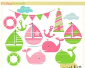 ON SALE Sail boat clip art , Nautical fun 2 , for invites,scrapbooking ,sail boat,sailing clip art, pink and green,whale clip art , INSTANT