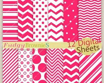 ON SALE SALE,Digital paper scrapbooking , hot pink background , No.136 printable background pink , hot pink , pink clip art  Instant downloa
