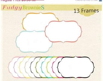 ON SALE Digital frame, square frames clipart, white background frame, digital scrapbooking frames.A-70 , Instant download