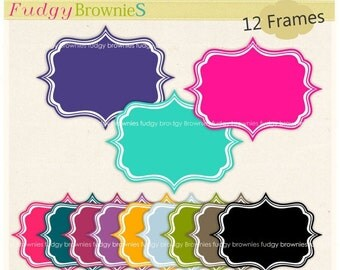 ON SALE Digital frame, Square Frames clip art,kids, birthday invitations, 12 digital scrapbooking frames.A-79,instant download