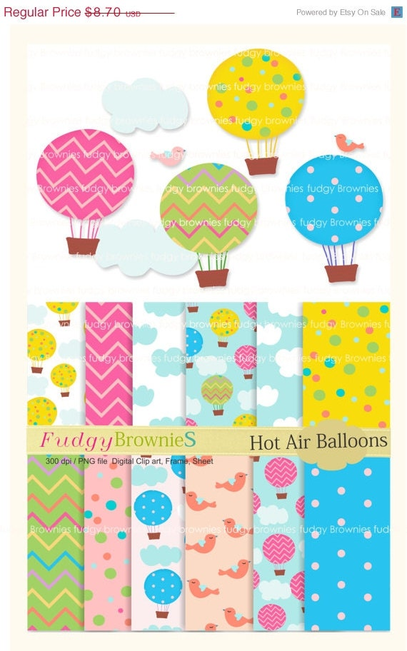ON SALE Digital Papers,clip art paper set, Hot Air Balloons MS 01, for invites, cards, scrapbooking ,chevron, polka dots , Instant Download