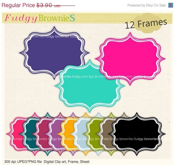 ON SALE Digital frame, Square Frames clip art,kids ...
