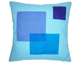 "Sky Blue / Purple Block Cotton Decorative Throw Pillow Cover / Pillow Case / Cushion Cover / 20x20"" Square"