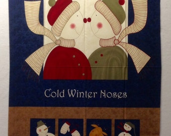 Cold Winter Noses fabric panel by Sandy Gervais for Moda - Snowmen - Stockings - Mittens  - Reindeer