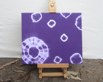 Tie-dyed Wall Art, Puple and White Circles, Ready to Frame or Hang